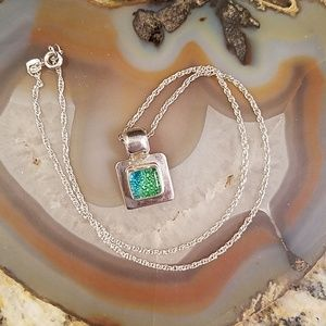 Vtg silver with green /blue bubble pendant  GUC